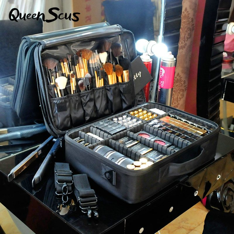 Women High Quality Professional Makeup Organizer Bolso Mujer Cosmetic Case Large Capacity Storage Bag Free Disassembly Suitcases