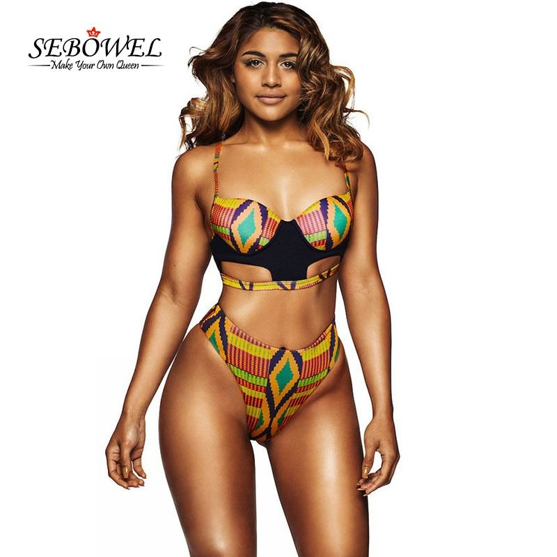 SEBOWEL Sexy African Tribal Print Swimsuit Women High <font><b>Waist</b></font> Thong Bottoms Swimwear Female 2 Pieces Bathing Suits Padded Bikini