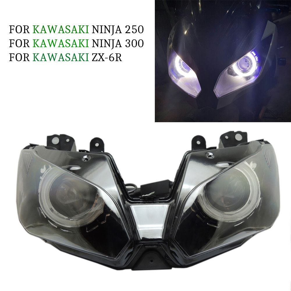 Angel Eye HID Projector Custom Headlight Assembly for Kawasaki Ninja 300 2013 2014 / EX300 Blue Accessories