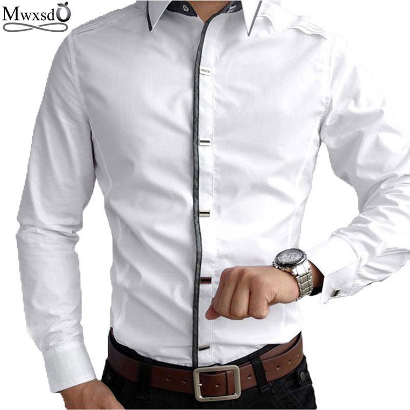 Top qualité Mwxsd marque décontracté à manches longues 100% coton chemises hommes Rock chemise Slim Fit solide homme robe chemise