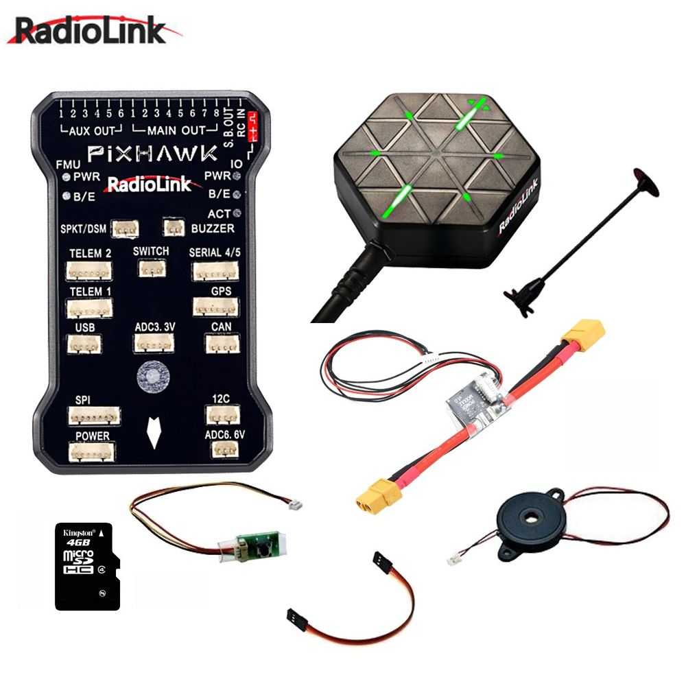 Radiolink Pixhawk PIX APM Flight Controller Combo with GPS Holder M8N GPS Buzzer 4G SD Card Telemetry Module Mounting foam