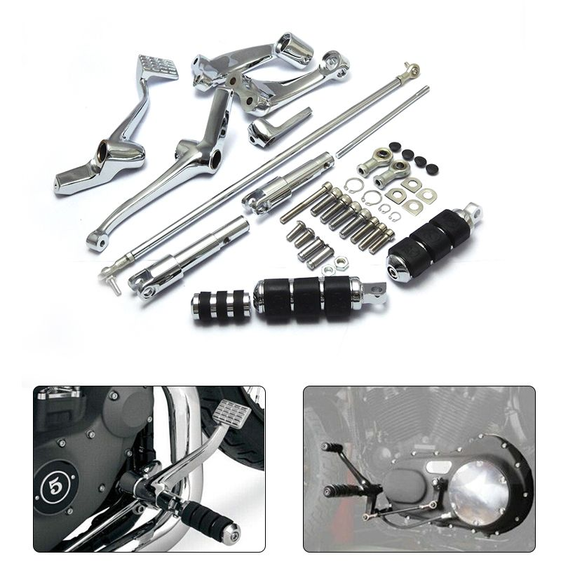 Chrome Forward Controls Kit Pegs Levers Linkage For Harley Sportster 883 1200 Custom Roadster Low Nightster 2004-2013