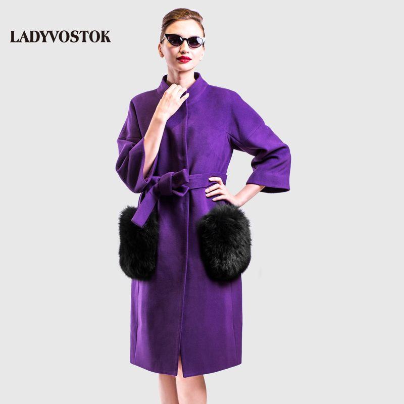 LADYVOSTOK 3608 autumn winter long female coat cashmere removable fur pockets warmer cotton long female jacket new fashion 2017
