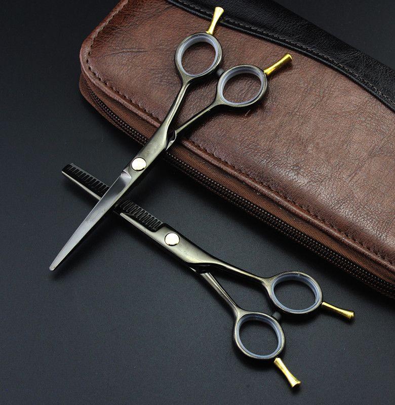 Professionnel 5.5 pouces ciseaux à deux queue noir amincissant scisors coupe ciseaux de coiffure ciseaux ensemble ciseaux de coiffure