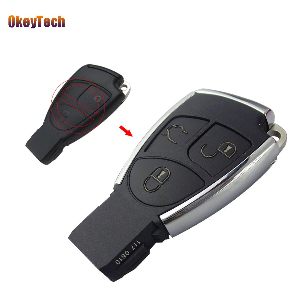 OkeyTech Modified For Mercedes Benz C E ML SL SLK CLK AMG 3 Button Replacement Remote Car Smart Key Shell Cover & Battery Holder