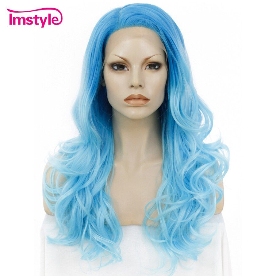 Imstyle Lace Front Wigs Long Wavy Ombre Blue Wig Heat Resistant Synthetic Wig For Women Lace Wig Two Tone Cosplay Party 24 inche