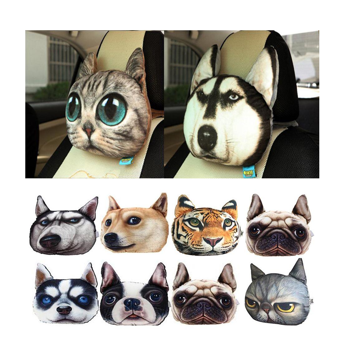 Dongzhen Car Headrest Pillow Head Neck Rest Headrest Pillow Seat Back Lovely Dog Cat Animal Huskies Gift Present 3D Car Styling