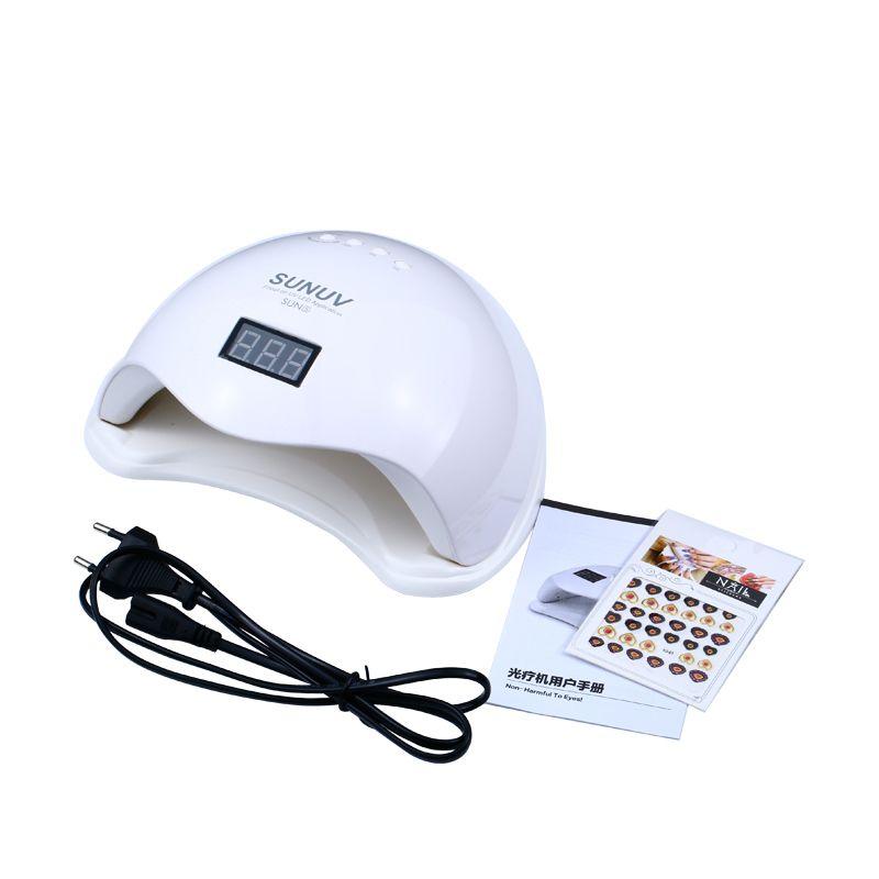 2 stücke SONNE 48 watt SUN5 UVLED Sensor Doppel Weiß UVLight LED Lampe Nagel Trockner Schnelle Trocknung Für Aushärtung Nail gel Polnisch Mit Display Zeit