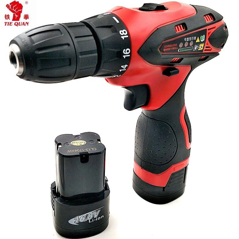 16.8v Screwdrivers with 2 batteries electric Drill Power tools Double <font><b>speed</b></font> electric Drill Mini Drill electric drilling