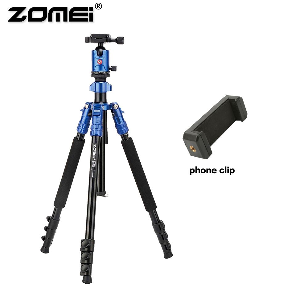 Zomei Aluminum Professional M7 Tripod Flexible Travel Camera Tripe with phone holder ball head For SLR smartphone live broadcast