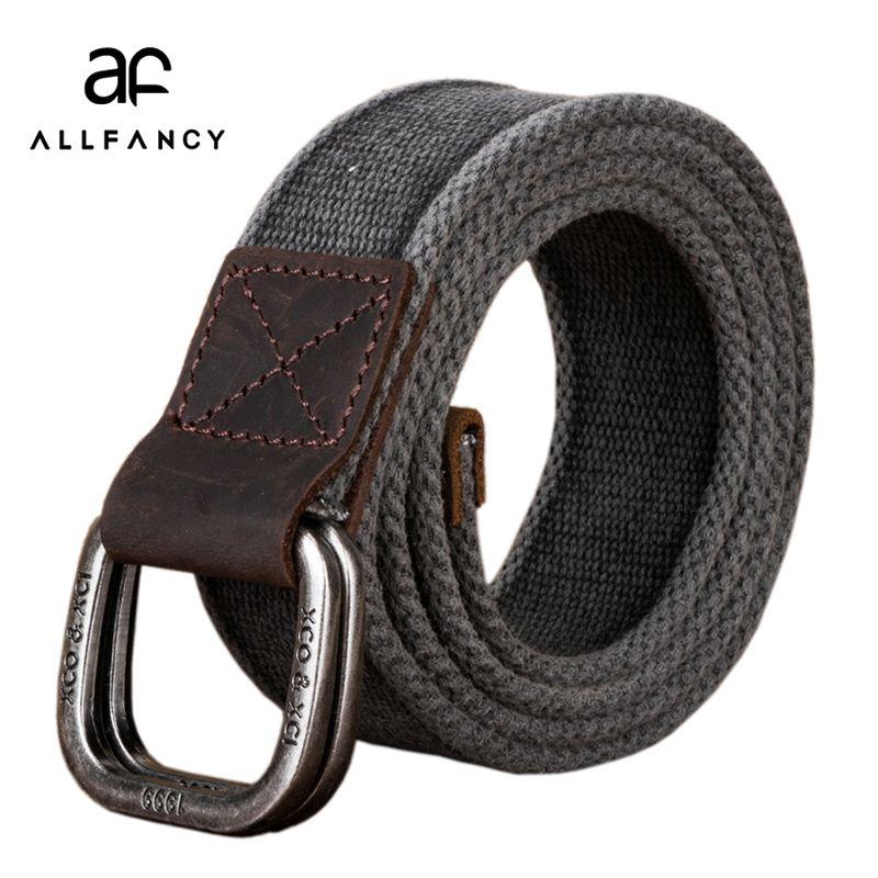 Hommes ceinture 2017 nouvelle toile ceinture coton véritable double anneau armée tactique taille ceinture décontracté sangle pure jeans tissage ceintures
