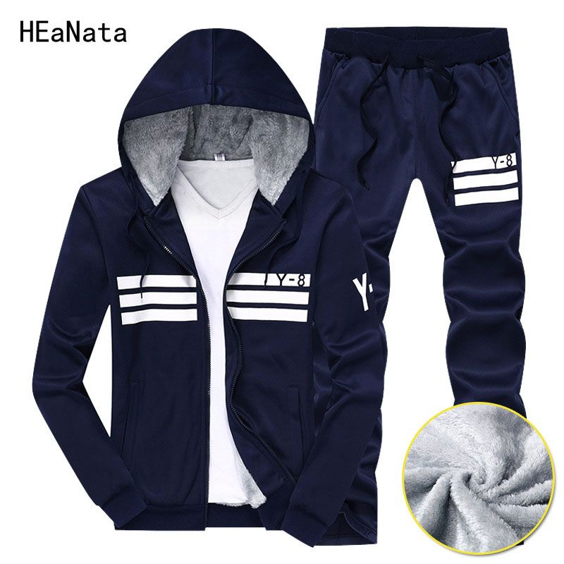 Winter Brand Men's Sets Winter Warm Hooded Hoodies Sportswear Suits Two Parts Tracksuit+Pants Set Men Sweat Suits Plus Size 9XL