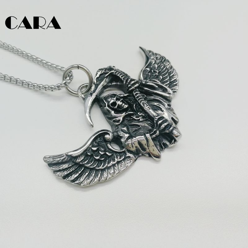 2018 New Vintage silver color 316L stainless steel Wings Grim Reaper necklace pendant skeleton skull punk necklace CARA0463