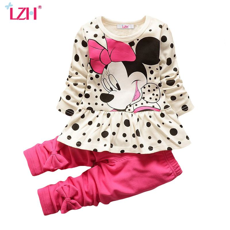 LZH Children Clothing 2017 Autumn Winter Baby Girls Clothes T-shirt+Pants 2pcs Kids Tracksuit Sport Suit For Girls Clothing Sets