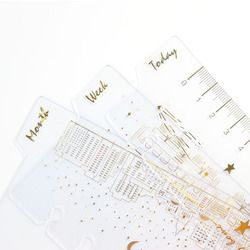 Domikee cute creative 6 holes binder planner notebook Gold foil index divider bookmark accessories:today weekly monthly A6 3pcs