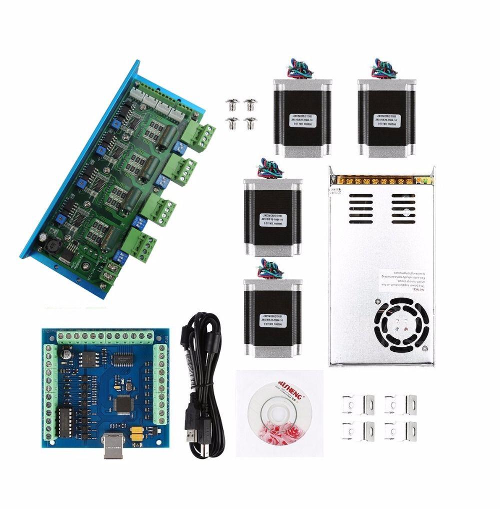 Mach3 CNC USB 4 Cnc-5-achsen-kit, TB6600 4 Achsen schrittmotortreiber + usb-controller-karte 100 KHz + 4 stücke nema23 unzen-in motor + netzteil