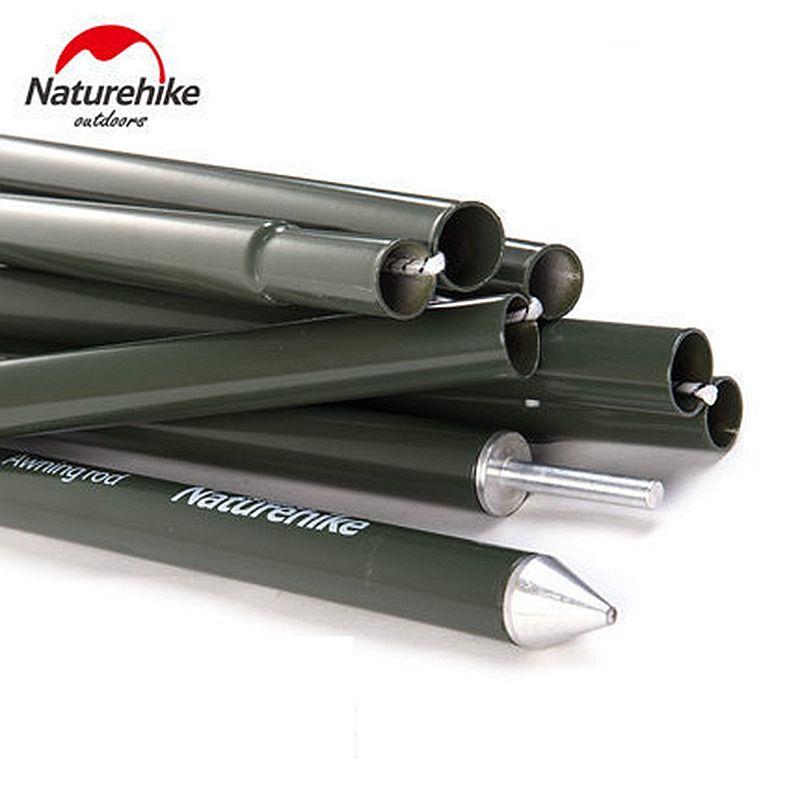 NatureHike Camping Awning Pole Aluminium Alloy Awning Rod <font><b>Tent</b></font> Poles Tar Tarpaulin for Canopy <font><b>Tent</b></font> Building Sun Shelter 2pcs
