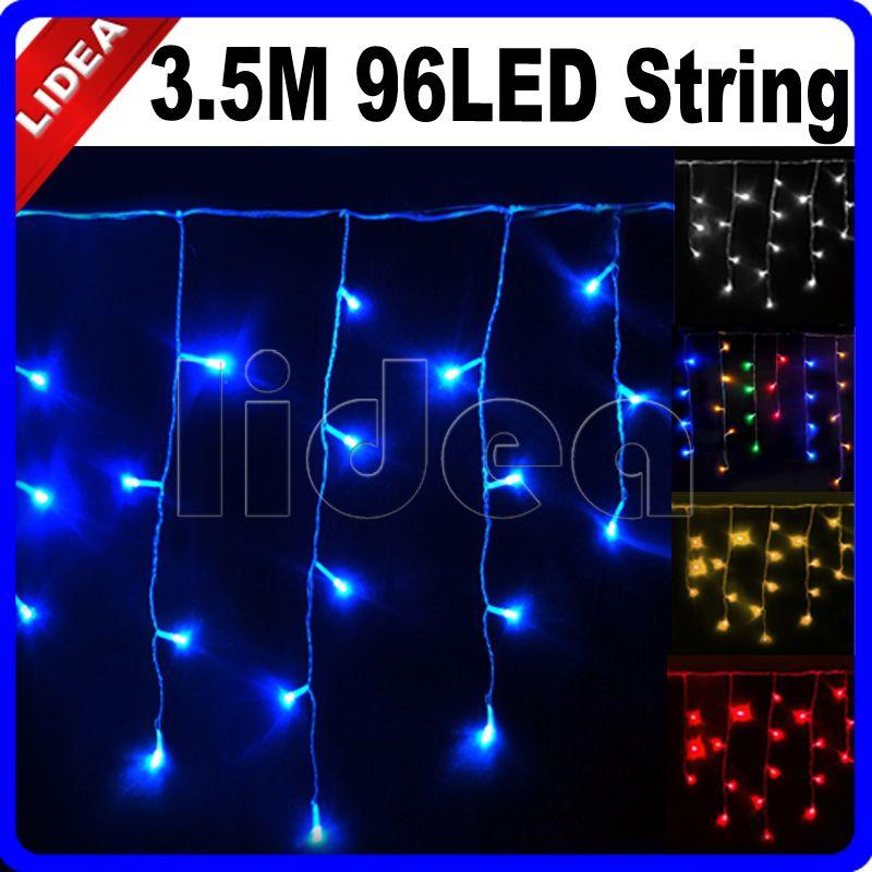 3.5 M 96 LED 9 couleurs mariage jardin nouvel an noël guirlande cordon fée chaîne décoration extérieure rideau glaçon lumière CN C-15