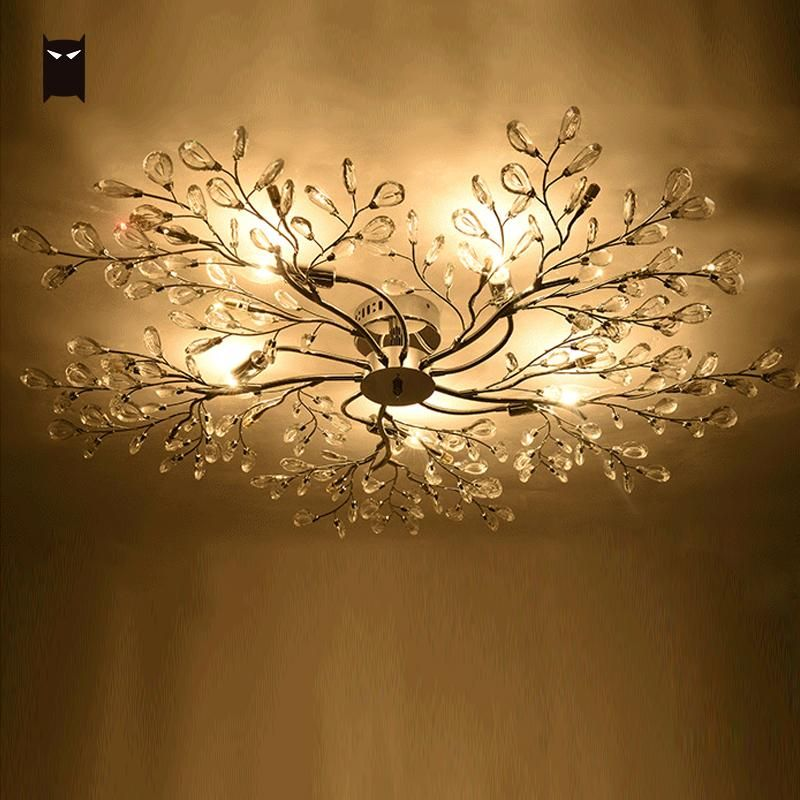 Big Silver Iron K9 Crystal Chandelier Fixture Modern Nordic Tree Branch LED Hanging Ceiling Lamp Lustre Lighting for Living Room