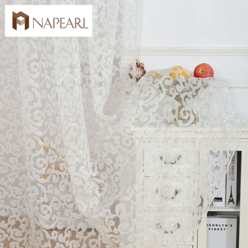 European style jacquard design home decoration modern curtain tulle fabrics organza sheer panel window treatment white short