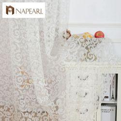 NAPEARL из жаккарда в европейском стиле дизайн украшения дома Современная занавеска тюлевые ткани прозрачная органза панель обработки окна бе...