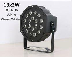 LED Par lumière 18x3 W 54 W Haute Puissance RGB/UV/blanc Blanc Chaud Lumière de pair Avec DMX512 Maître Esclave Led Plat Equipements DJ Controller