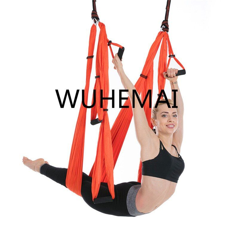 WUHEMAI Anti-gravity Yoga Hammock Swing Parachute Fabric Inversion Therapy High Strength Decompression Hammock Yoga Gym Hanging