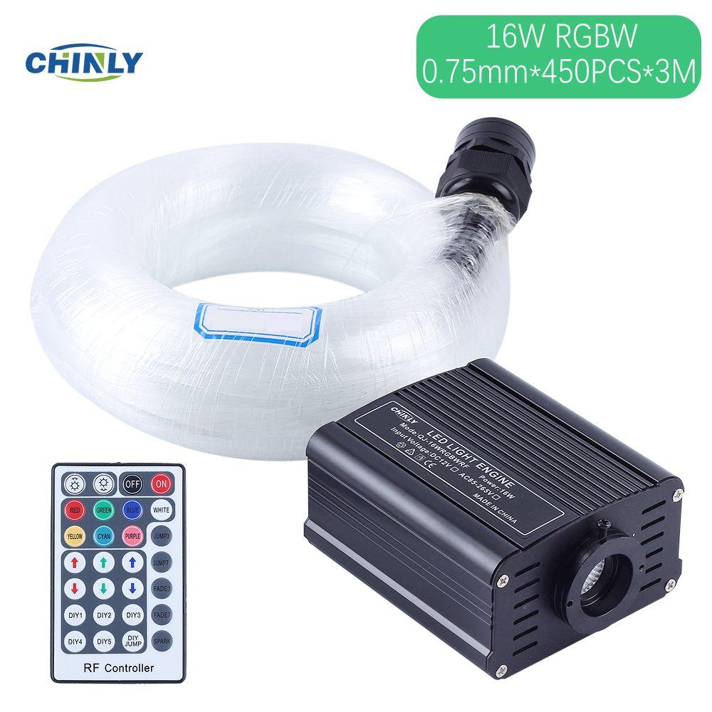 450PCS 0.75mm 3m 9.8ft LED Fiber Optic Light Kit Star Sky Ceiling Light 16W RGBW LED Light for Optic Fiber Lighting