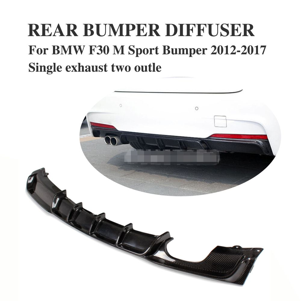 Carbon Firber / FRP Rear Bumper Diffuser Lip Spoiler For BMW F30 M Sport bumper 2012-2017 single exhaust Two Outlet