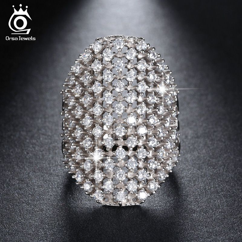 ORSA JEWELS Fashion Silver Color Party Rings for Women with 82 Pieces Clear Cubic Zirconia Rose Gold Color Finger Ring OR92