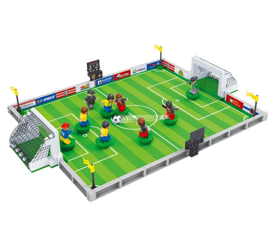 3D Table Football Game Player City Sport 251pcs Building Blocks Set Model Educational Bricks Toys Kits for Children