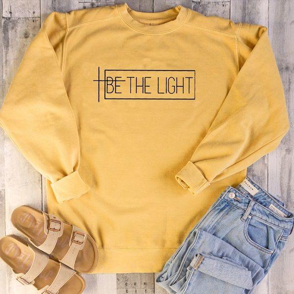 Skuggnas Be The Light Fashion Sweatshirt Long Sleeve Casual Tops Unisex Faith Jumper Harajuku Streetwear Casual Tops drop ship