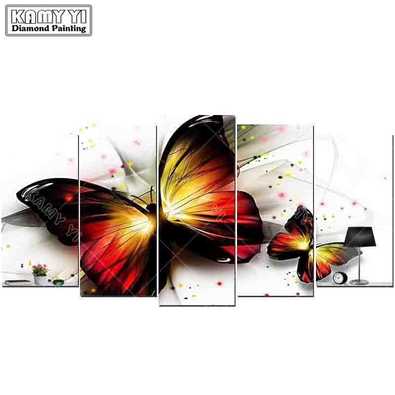 5d diy diamond embroidery Flying butterflies diamond painting Cross Stitch full square Rhinestone 5PCS Multi-picture