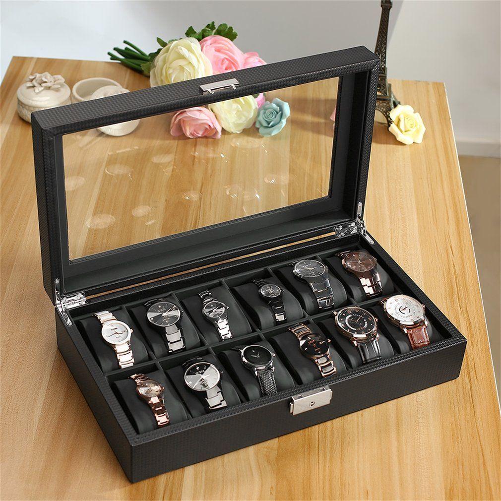 OUTAD Leatherette 12 Slot Carbon Fiber Design Jewelry Display Watch Box Storage Holder Winder Black Large High-Grade saat kutusu