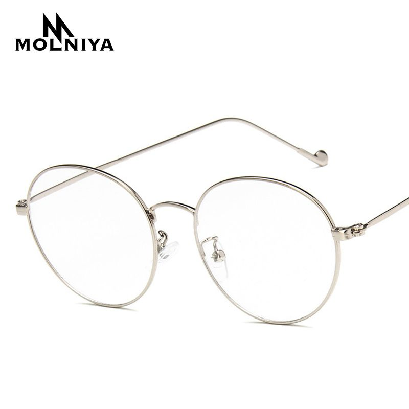Fashion Round Glasses Frame Lunette 2017 Men Vintage Metal Frame Clear Lens Glasses Optical Glasses Women Mirror Plain G35