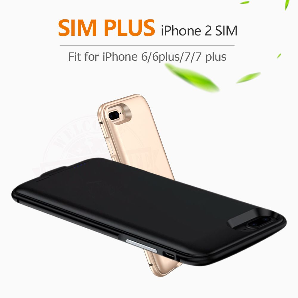 2018 Dual SIM Dual Standby Adaper Metal frame Ultrathin Long Standby for iPhone6 (s)/6 plus/7/7 plus & 1800/2500 mAh Power Bank