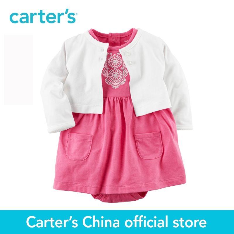 Carter's 2pcs baby children kids spring summer girl clothing 2-piece set Bodysuit Embroidery Dress & Cardigan Set 121H352
