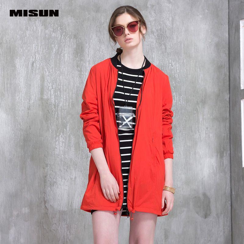 Misun 2017 new women autumn winter medium-long brief thin breathable skin-friendly trench outerwear fashion coat MSJ-G0503A