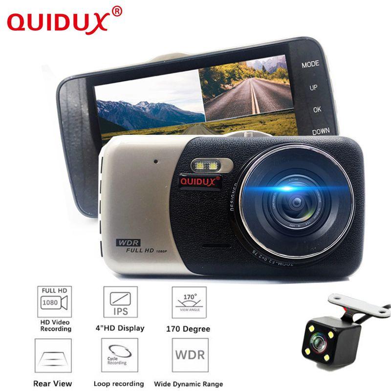 QUIDUX Car DVR 4 Inch IPS Screen Auto Camera Dual Lens FHD 1080P Dash Cam Video Recorder Night Vision G-sensor Registrator