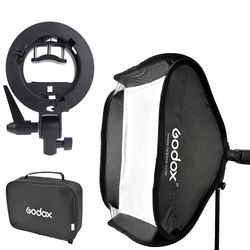 Godox 80x80cm Photo Studio Softbox Diffuser + S-type Bracket Bowens Holder Mount for Flash Light