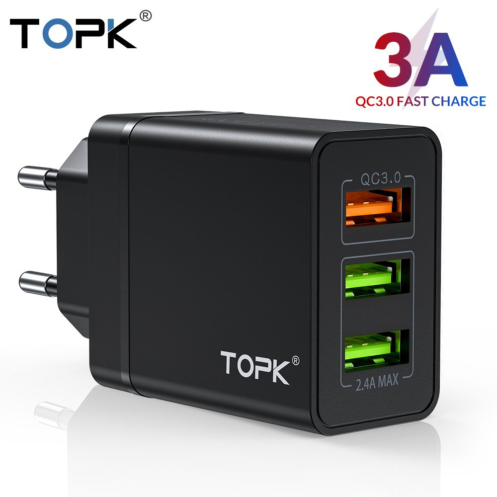 TOPK B348Q Quick Charge 3.0 USB Charger QC3.0 Fast Charging Multi Charger for Samsung S10 Xiaomi Mi9 Travel Wall Phone Charger