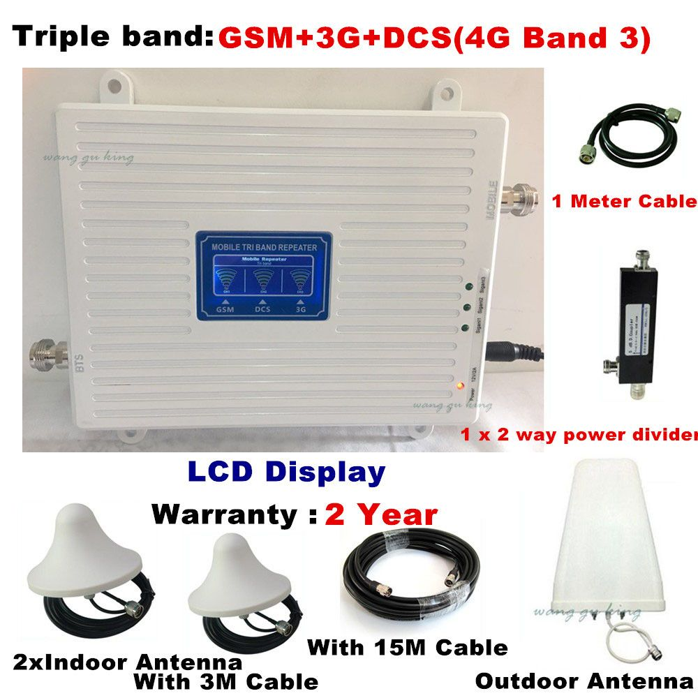 TriBand For 2 Rooms 2G 3G 4G GSM repeater 900 WCDMA 2100 LTE 1800 cellular Signal Booster 70dB Gain gsm Repeater 3G 4G Amplifier