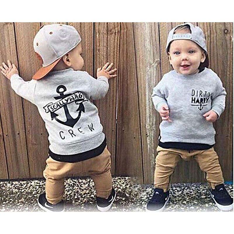 2019 mode nouveau-né enfants bébé garçon vêtements à manches longues coton gris pull + kaki pantalon 2 pièces tendances vêtements ensembles bébé garçons