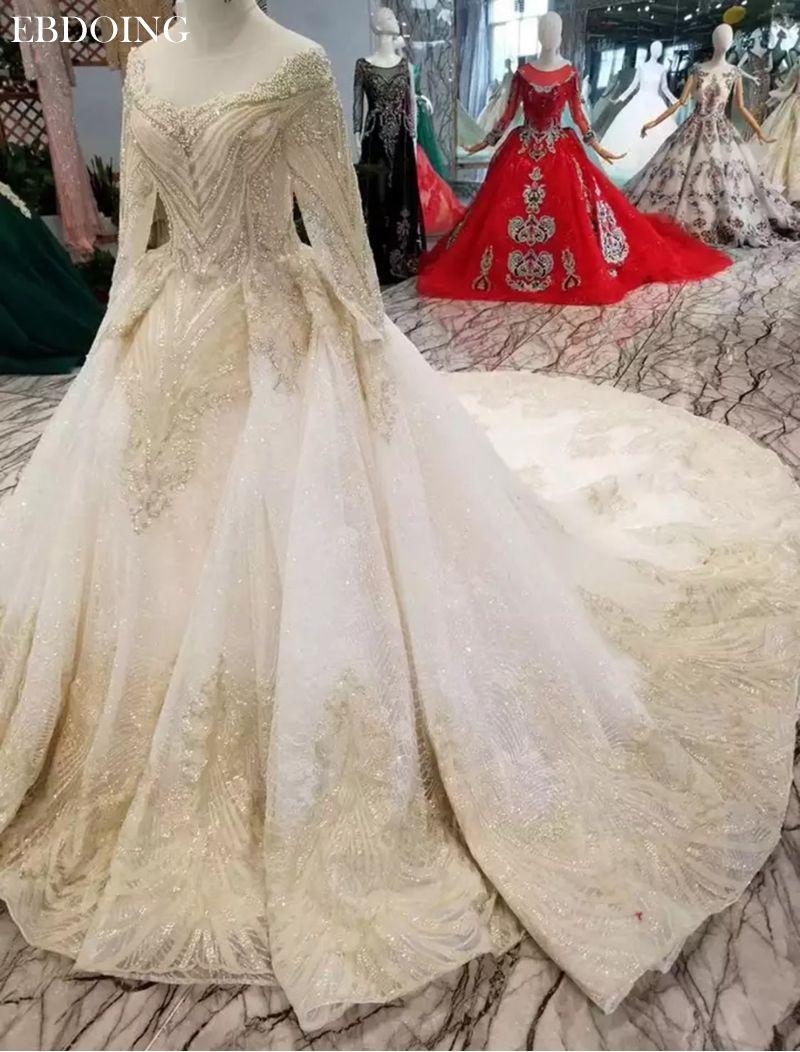 Vestidos De Novia Ballkleid Hochzeit Kleid Boot-ausschnitt Vollen Ärmeln Gericht Zug Lace UP Braut Kleid Plus Größe Mit spitze Perlen