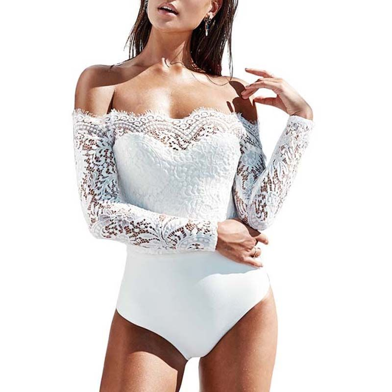 Women Sexy Off Shoulder Bodysuit Spring Summer 2018 Short Jumpsuit Romper Long Sleeve Lace Stitching Tops Clubwear Body Playsuit