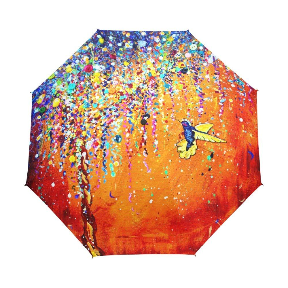Creative Colorful Hummingbird Umbrella Anti-uv Sun Protection Umbrella Bird 3 <font><b>Folding</b></font> Gift Sunny Rainy Umbrellas For Women