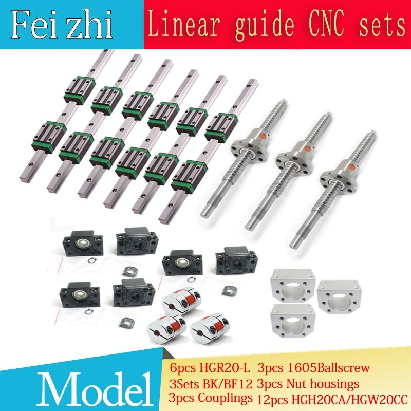 12pcs HGH20CA Square Linear guide sets + 3pcs Ballscrew SFU605- + BK BF12 + jaw Flexible Coupling Plum Coupler for cnc