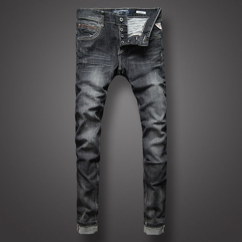 Italian Style Retro Mens Jeans Black Color Slim Fit Denim Jeans Men Buttons Pants Brand Clothing Fashion Skinny Jeans Size 29-38