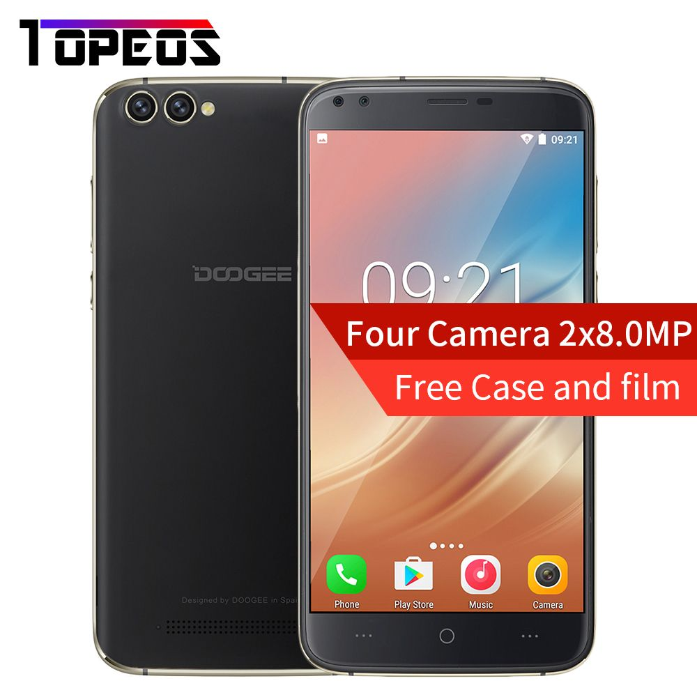 DOOGEE X30 Four Camera 2x8.0MP+2x5.0MP Android 7.0 mobile phone 3360mAh 5.5'' MTK6580A Quad Core 2GB RAM 16GB ROM Smartphone
