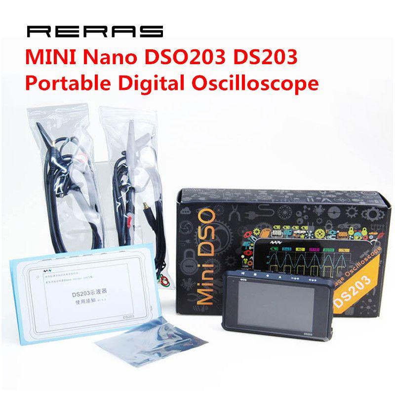 4 Channel 72MS/s MINI Nano DSO203 DS203 Professional Portable Digital Oscilloscope Digital DSO 203 DS 203 with X1 & X10 Probe